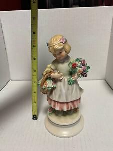 Vintage 1970 Hummel W Goebel Lore 248 Bird Song Girl with Flowers Figurine TMK-4