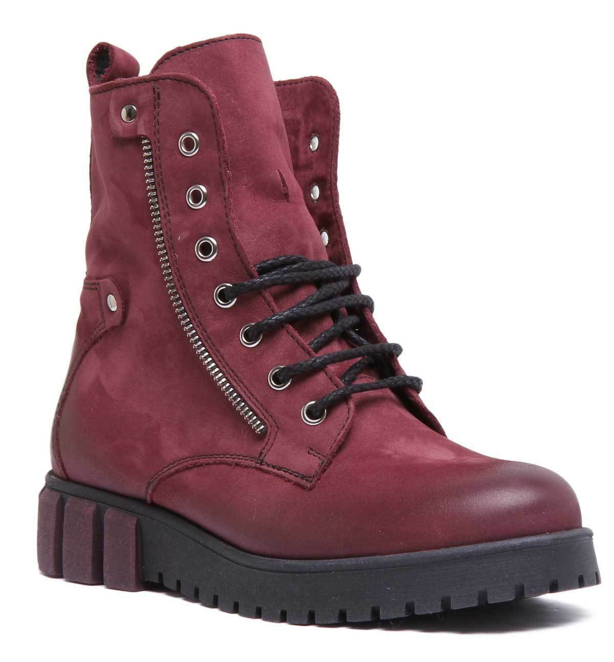 Justin Reece Womens Lace up Side Zip Military Boot Maroon Leather Size UK 3 - 8