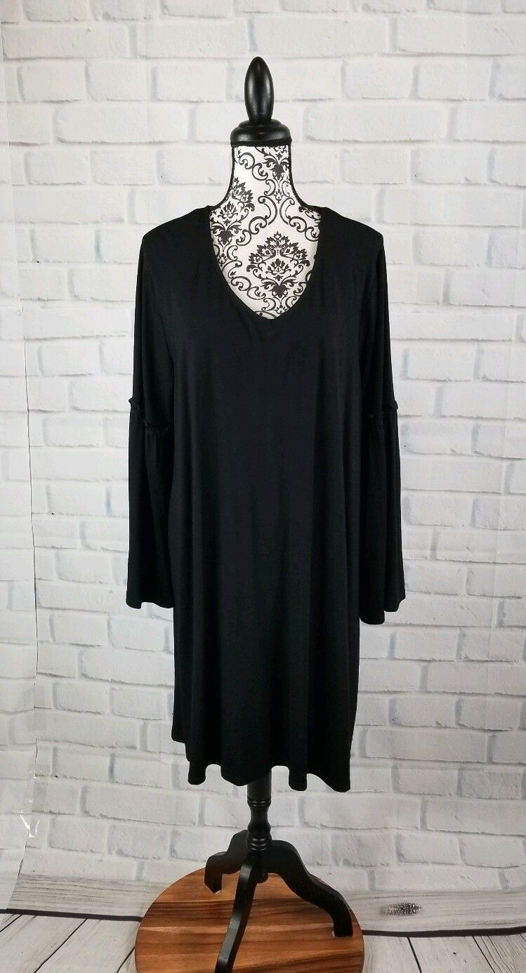 Boutique women's plus size 1x long bell sleeves stretch knit dress nwt b4