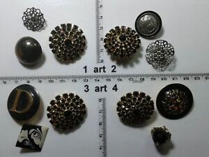 1-lotto-bottoni-gioiello-strass-smalti-perle-vetro-buttons-boutons-vintage-g10