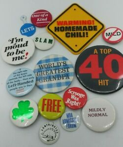 Humor / Mixed Lot of 15 Pinback / Fold Over Tab Buttons, 70s to Now, Junk Drawer