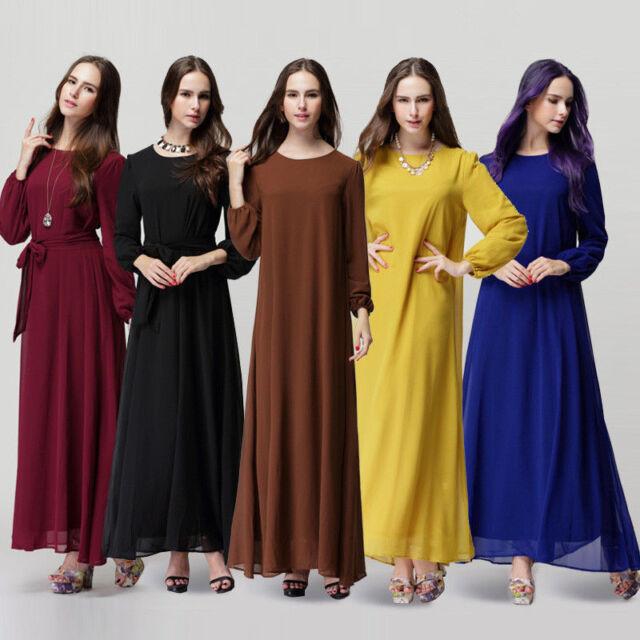 Lady Kaftan Abaya Jilbab Islamic Muslim Bow Women Long Sleeve Maxi Dress Dresses
