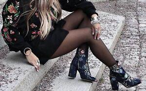 Zara Brodé Cheville Bottes Taille UK4 EUE37 US6.5 NEUF ref 2107 201-afficher le titre d'origine