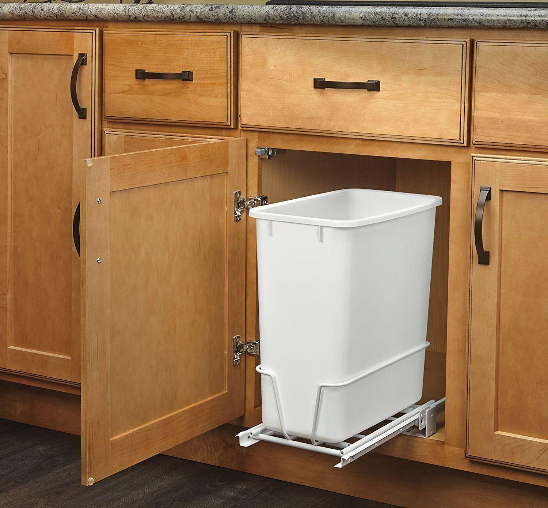 20-Quart White Trash Can Kitchen Waste Bin Garbage Pull