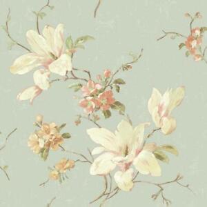 Wallpaper-Magnolia-Floral-on-Light-Blue-Background