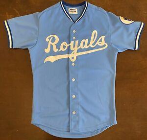 Details about Rare Vintage Sand Knit MLB Kansas City Royals Powder Blue Baseball Jersey