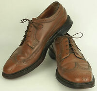 Florsheim Imperial 5-Nail V-Cleat Brown Brogue Wingtip Oxford Dress Shoes 11D