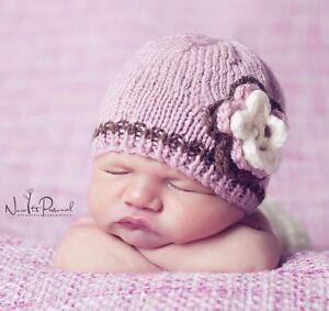 Hand Made Knitted Crochet Baby Hat Blue Boy Button Beanie Photo Prop Newborn-12m