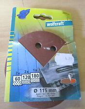 Winkelschleifer - Schleifpapier 115mm- WOLFCRAFT 5 Blatt nur in der Körnung 80