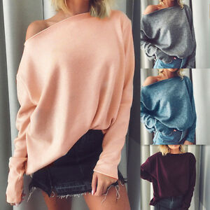 Women-Sexy-One-Shoulder-Solid-Cashmere-Blouse-Casual-Shirt-Long-Sleeve-Top-P