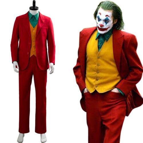 Joker 2019 Arthur Fleck Joaquin Cosplay Costume Red Suit Yellow Vest Halloween