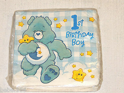 NEW CARE BEARS 1st  BIRTHDAY BOY  16-SMALL/DESSERT NAPKINS   PARTY SUPPLIES