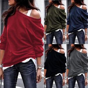 Women-039-s-One-Shoulder-Hoodie-Sweatshirt-Long-Sleeve-Sweater-Jumper-Pullover-Tops