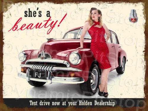 30x40cm Pinup Miss Luna Star FJ Holden Rustic Tin Sign