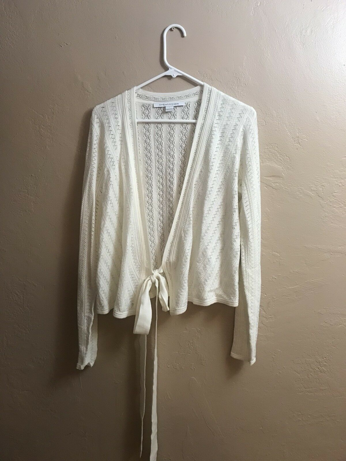 Diane Von Furstenberg damen's Ballerina Wrap Sweater Ivory Top Blouse Größe L