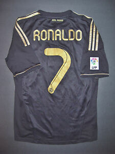 info for e0332 cb80f Details about 2011/2012 Adidas Real Madrid Cristiano Ronaldo Away Black  Gold Jersey Shirt Kit