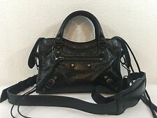 BALENCIAGA BLACK GIANT 12 WRINKLED LAMBSKIN LEATHER MINI CITY CROSSBODY $1395