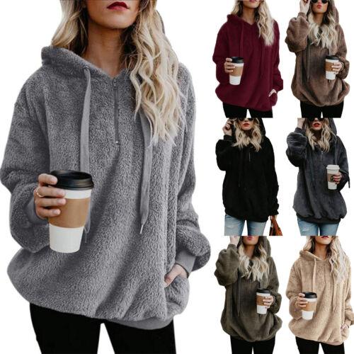 Damen Fleece Jacke Teddyjacke Kapuzen Pullover Sweatshirt Hoody Pulli Mantel