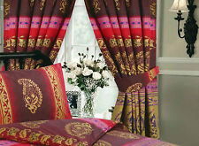 "VINTAGE Kashmir Borgogna & Oro Matita Pleat Tende 66 ""X72"" con ferma tende"
