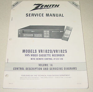 zenith service manual vr 34as for vhs vcr vr1820 1825 video cassette rh ebay com Example User Guide User Webcast