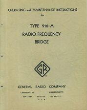 General Radio Type 916 A Radio Frequency Bridge Operating Instructions