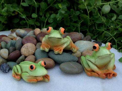 Miniature Dollhouse FAIRY GARDEN Accessories ~ Set of 3 Mini Resin Frogs ~ NEW