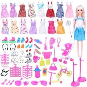 114Pcs-Set-Barbie-Doll-Dresses-Clothes-Shoes-Jewellery-amp-Hangers-Set-Accessories