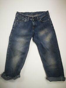Damen-Levi-039-s-555-Cropped-Denim-Cut-Off-Jeans-3-4-Lang-Shorts-Dunkelblau-WASH-w26