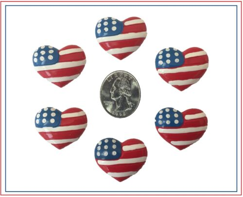 6 PC PATRIOTIC RED WHITE BLUE FLAG HAIRBOW CENTERS RESINS FLAT BACK