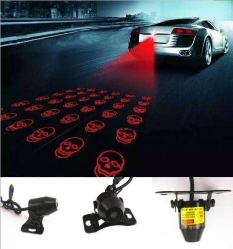 Universal Laser Safety Anti Collision Crash Motorcycle Fog Light Lamp Skull Head