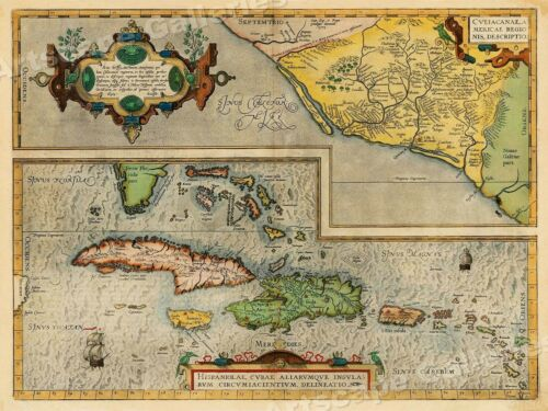 Caribbean 20x28 Florida /& Mexico 1580's Vintage Style Decorative Map