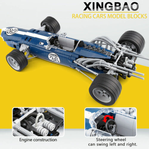 Xingbao Building Block Blue Super Racing Car Car Model Toys Gifts DIY 1758PCS