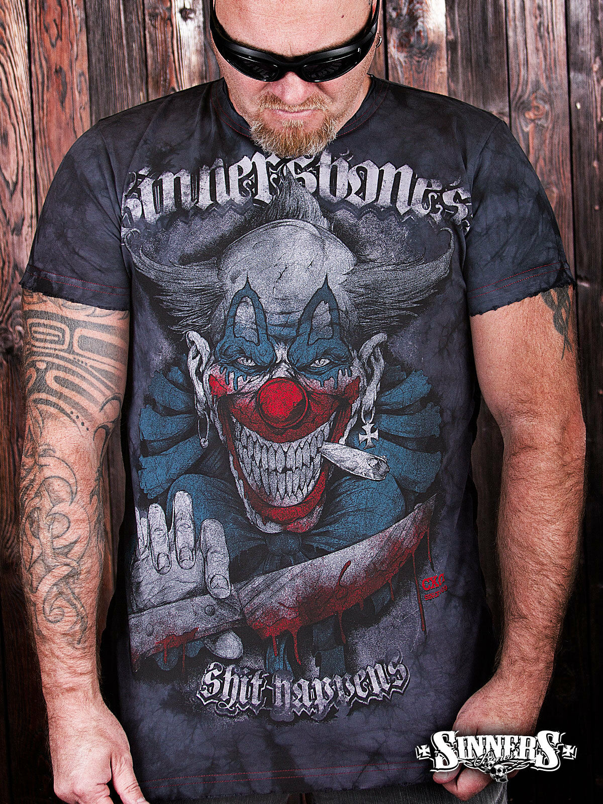 Biker Horror Clown Tattoo T-Shirt  Sht Happens  S-5XL