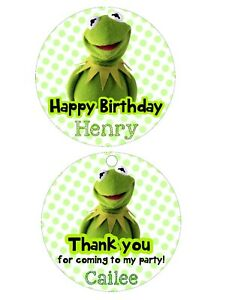Details about Birthday Party Favor Tags or Stickers! lollipop label Kermit  Muppet puppet frog