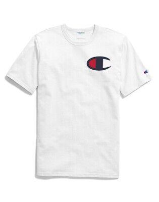 Red//Black//White Champion Men/'s Life C Logo Applique T-Shirt