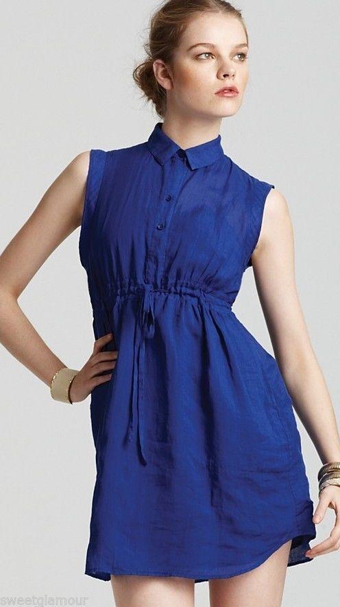 285 Theory Mistina Common Bright purple Ramie Sleeveless Shirt Dress 10