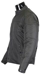 Tessile-Giacca-Moto-con-protezioni-Biker-Custom-vento-NERO-di-tenuta