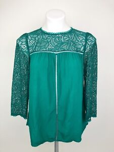 Anthropologie Moulinette Soeurs Green Lace Cloaked 3/4 Sleeve Blouse Size 2