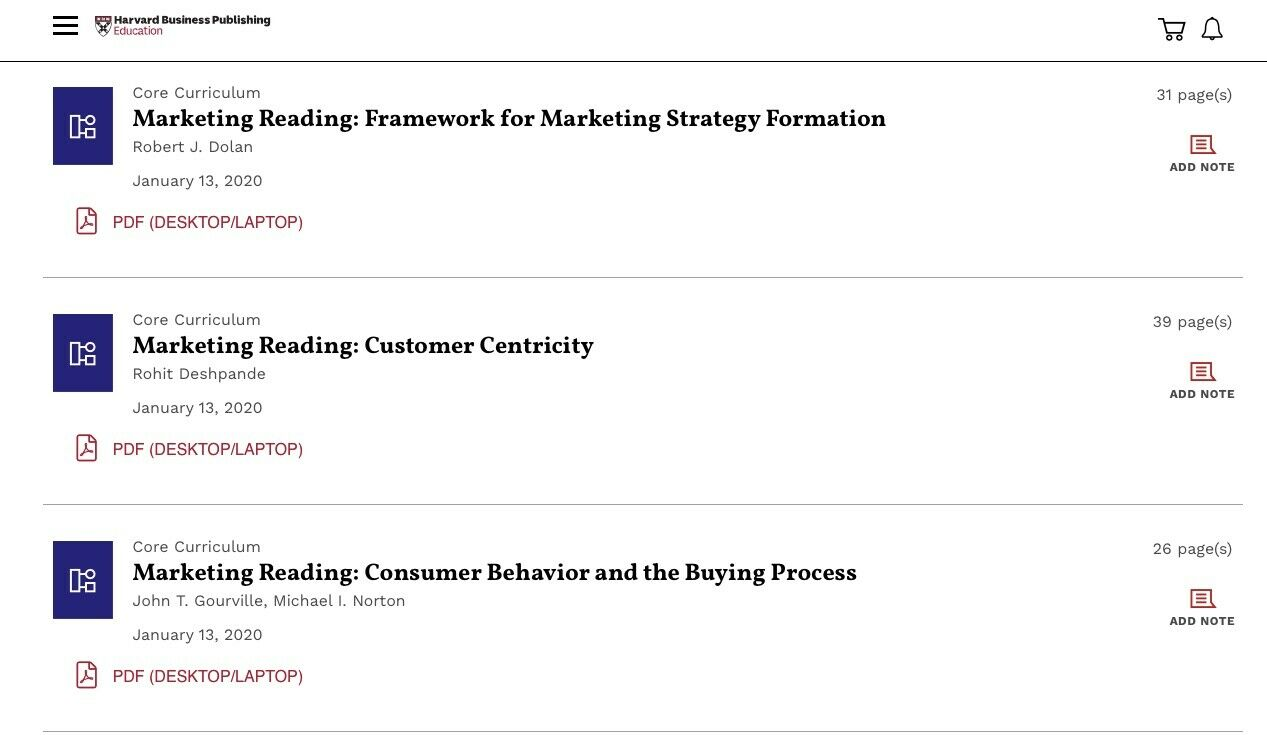 Marketing reading ematerials Harvard Business publishing 2