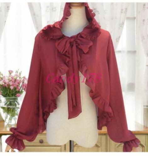 Summer Lolita Girl Coat Cloak Cape CuteChiffon Ruffle Hooded Sunscreen Cardigan
