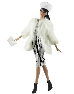 4in1 Set Fashion Outfit Fur Coat+dress+hat+bag for 11.5 in Doll #03