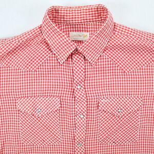 Vtg-50s-Trashed-Western-Pearlsnap-Shirt-Mens-XL-Distressed-Faded-Cowboy-USA-Made