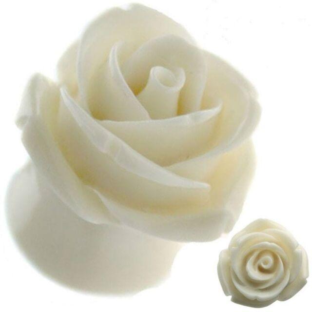 Cream Rose Resin Ear Tunnel Plugs Flared