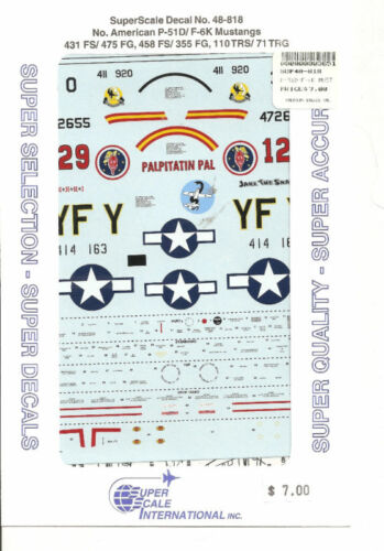 Superscale Decal 48-818 N.A P-51D/F-6K Mustang