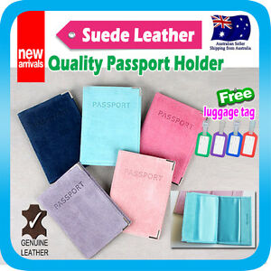 Passport-Holder-Travel-Wallet-Suede-Leather-Cover-Case-Protector-Pouch-Tag