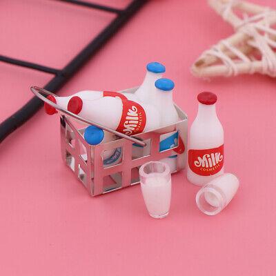 6Pcs 1:12 Dollhouse miniature milk bottle milk cup for dolls house kitchen