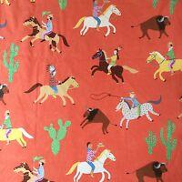 Fun Liberty of London Orange Playroom Fabric Cowboy / Cactus / Western 1 metre