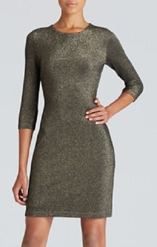 Karen Kane 4L94684 Gold Metallic Stretch Knit Sheath Dress L MSRP $138
