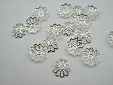 100 Bead Caps Silver Plated Flower Caps 8mm Bead Ends Jewellery Making Findings