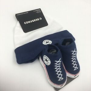 Details about Converse Chuck Taylor Baby Hat & Booties Gift Set, 6 12 Months, Navy Blue L33